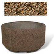 "Concrete Outdoor Planter w/Forklift Knockouts, 48""Dia x24""H Round Tan River Rock"