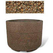"Concrete Outdoor Planter w/Forklift Knockouts, 48""Dia x36""H Round Tan River Rock"