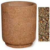 "Concrete Outdoor Planter 31""Dia x 36""H Round Tan River Rock"