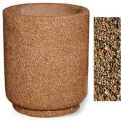 "Concrete Outdoor Planter 31""Dia x 36""H Round Tan River Rock"