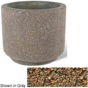 "Concrete Outdoor Planter 36""Dia x 30""H Round Tan River Rock"