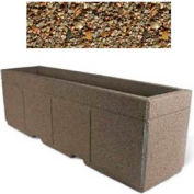 "Concrete Outdoor Planter w/Forklift Knockouts, 96""Lx24""W x 30""H Rectangle Tan River Rock"