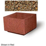 "Concrete Outdoor Planter, 36"" Sq. x 24"" H Square Tan River Rock"