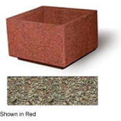 """Concrete Outdoor Planter, 36"""" Sq. x 24"""" H Square Gray Limestone"""