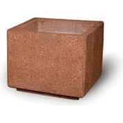 "Concrete Outdoor Planter, 36"" Sq. x 30"" H Square Red Quartzite"