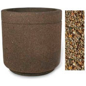 "Concrete Outdoor Planter 36""Dia x 36""H Round Tan River Rock"