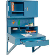 """Wall Mount Shop Desk with  Pigeonhole Riser, Pegboard Panel & Cabinet 34-1/2""""W x 30""""D x 61""""H - Blue"""