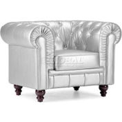 Aristocrat Armchair, Silver Leatherette