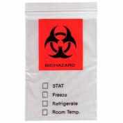 "Reclosable Biohazard Specimen Bags, 3-Ply, 2 mil, 6"" x 9"", Clear, 1000 per Case"