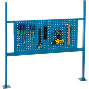 """Risers With 48"""" Workbench Pegboard Panel Blue"""
