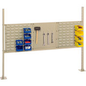 "Risers With 60"" Workbench Louver/Pegboard Panel Tan"
