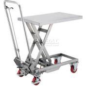 Best Value Stainless Steel Mobile Scissor Lift Table 220 Lb. Capacity - 28 x 18 Platform