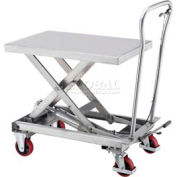 Best Value Stainless Steel Mobile Scissor Lift Table 440 Lb. Capacity - 33 x 20 Platform