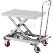 Best Value Stainless Steel Mobile Scissor Lift Table 440 Lb. Capacity - 33 x 20 Platform