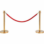 "Red Velour Rope 59"" With Ends For Portable Gold Post"