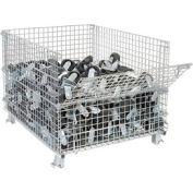 "Folding Wire Container GC404830E4 48x40x36-1/2 3000-4000 Lb Cap.Drop Gate 40"" Side"