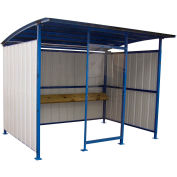 """Steel Smokers Shelter With Clear Front Panel and Wooden Bench Rail 120""""x96""""x91"""""""