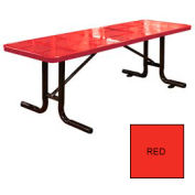 8' Free Standing Perforated Picnic Table, Surface Mount - Red