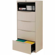 """Interion® 30"""" Premium Lateral File Cabinet 5 Drawer Putty"""