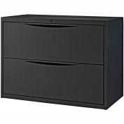 "Interion® 36"" Premium Lateral File Cabinet 2 Drawer Black"