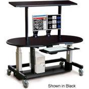 "Single Tier Cart™ Rectangular w/ Top Shelf- Mahogany 60""W x 30""D x 36""H"
