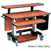 "Single Tier Cart™ Rectangular w/ Back Panel - Mahogany 48""W x 24""D x 36""H"