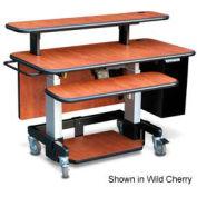 "Single Tier Cart™ Rectangular w/ Back Panel - Black 48""W x 24""D x 36""H"