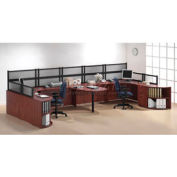 2 Person Workstation with Peninsula Table and Desk Mounted Panels
