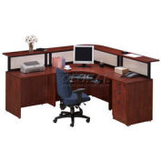 Cherry L-Desk Reception Station
