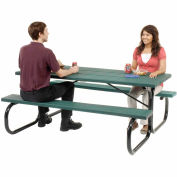 6 ft. Outdoor Plastic Picnic Table with Black Frame - Green