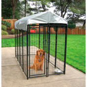 Lucky Dog Uptown Dog Welded Wire Kennel With Cover 4' x 8' x 6' Black