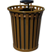 Wydman 36 Gallon Metal Receptacle with Ash Top - Brown