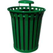 Wydman 36 Gallon Metal Receptacle with Rain Cover Lid - Green