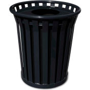 Wydman 24 Gallon Metal Receptacle with Flat Top Lid - Black