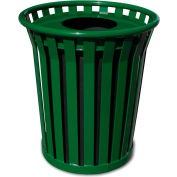 Wydman 24 Gallon Metal Receptacle with Flat Top Lid - Green