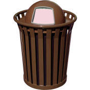 Wydman 36 Gallon Metal Receptacle with Dome Top Lid - Brown