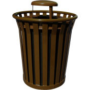 Wydman 36 Gallon Metal Receptacle with Rain Cover Lid - Brown