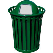 Wydman 36 Gallon Metal Receptacle with Dome Top Lid - Green