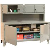 """Strong Hold Cabinet Workstation with Upper Compartments - 96""""W x 30""""D x 56""""H"""