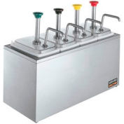 Server Non-Insulated Rail w/ (4) Stainless Steel Pumps & (4) Deep Fountain Jars