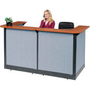 "U-Shaped Reception Station With Raceway, 88""W x 44""D x 46""H, Cherry Counter"