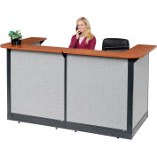 "U-Shaped Reception Station With Raceway, 88""W x 44""D x 46""H, Cherry Counter, Gray Panel"