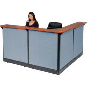 """L-Shaped Reception Station With Raceway, 80""""W x 80""""D x 46""""H, Cherry Counter, Blue Panel"""