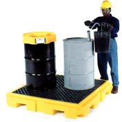 UltraTech Ultra-Spill Pallet Plus Containment Pallet P4 4-Drum with Drain 9631