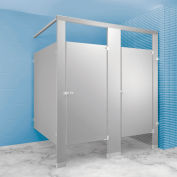 "Stainless Steel Bathroom Partition Complete 2 In-Corner Compartment 72"" Wide"