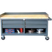"""Mobile Cabinet Workbench With Key Lock Drawers - 60"""" W x 36"""" D x 26"""" H"""