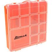 "Homak HA01088175  7 Adjustable Tall Plastic Compartment Storage Box, 8""L x 8""W x 1-3/4""H - Pkg Qty 24"