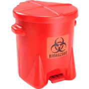 Eagle 6 Gallon Safety Biohazardous Waste Can, Red - 943BIO