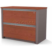 "Bestar® Lateral File Cabinet (Assembled) - 36"" - Bordeaux & Slate - Connexion Series"