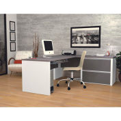 "Bestar® L Desk with Lateral File - 71"" - Slate & Sandstone - Connexion Series"